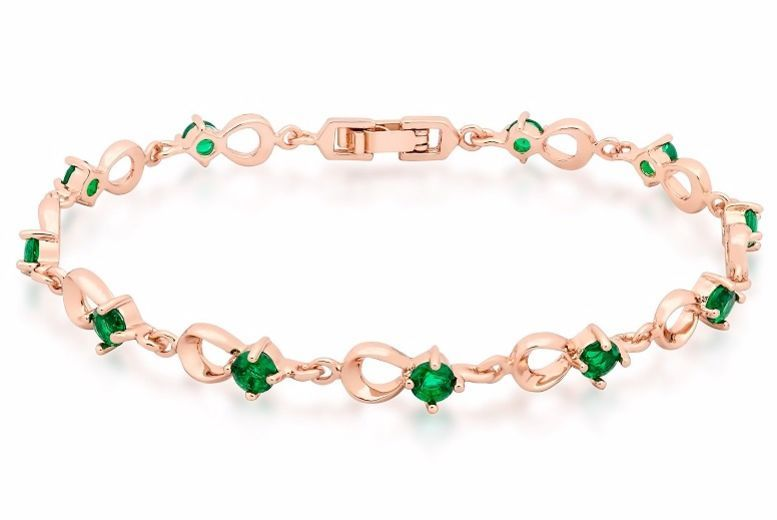 Rose Gold Plated Bracelet with Emerald Green Crystals