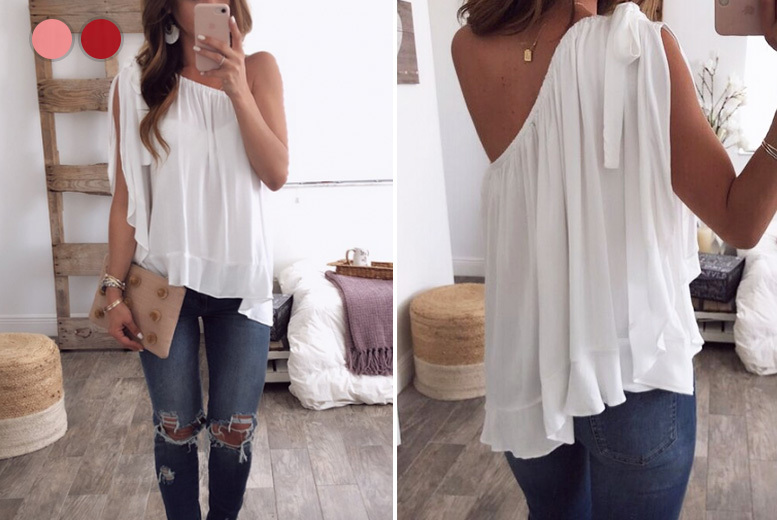 One Shoulder Chiffon Top – 3 Colours & UK Sizes 12-16! for £6.99