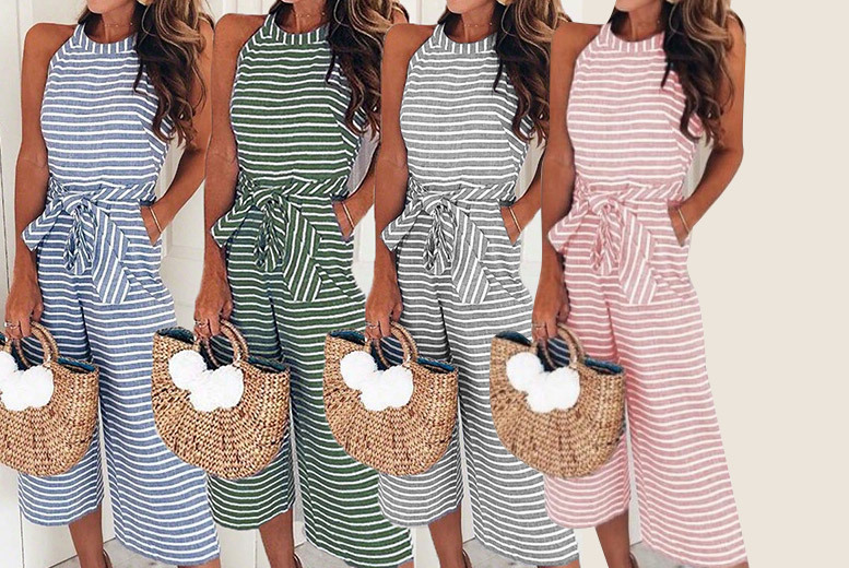 Striped High Neck Jumpsuit – UK Sizes 10-14 & 4 Colours! for £8.99