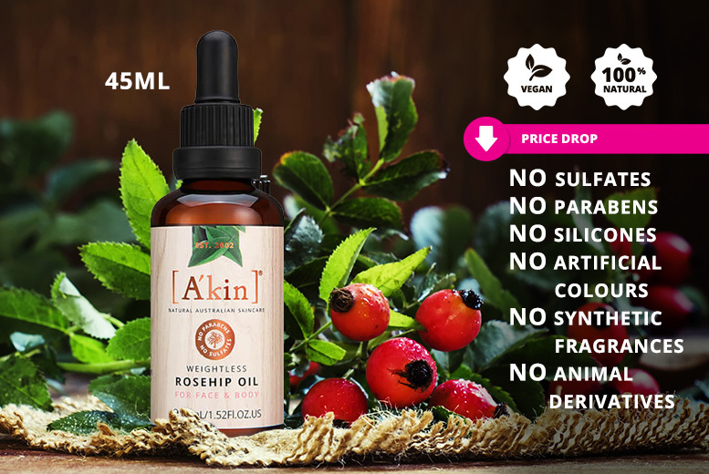 45ml A'Kin Weightless Rosehip Oil for £12