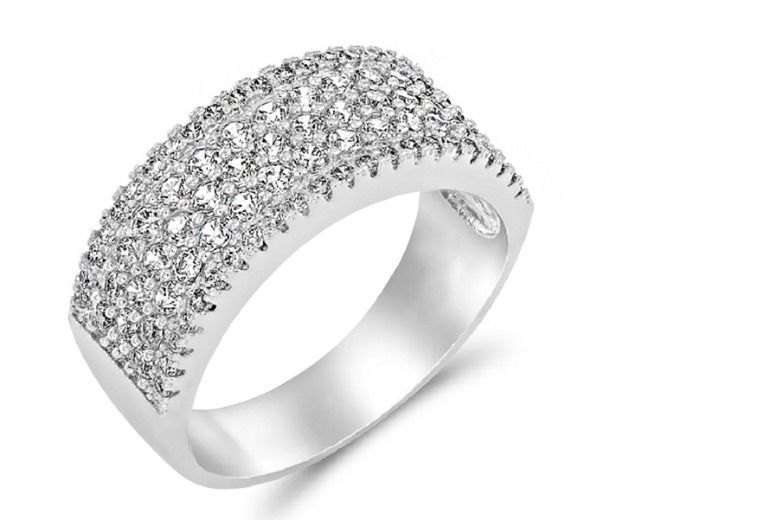 Silver Plated Stud Crystal Ring