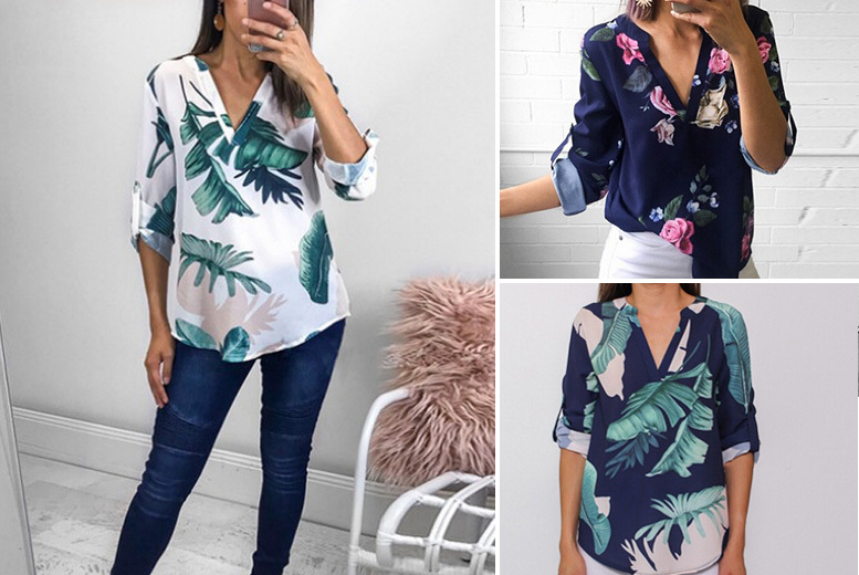 V-Neck Printed Shirt - 5 Designs and UK Sizes 10-16!