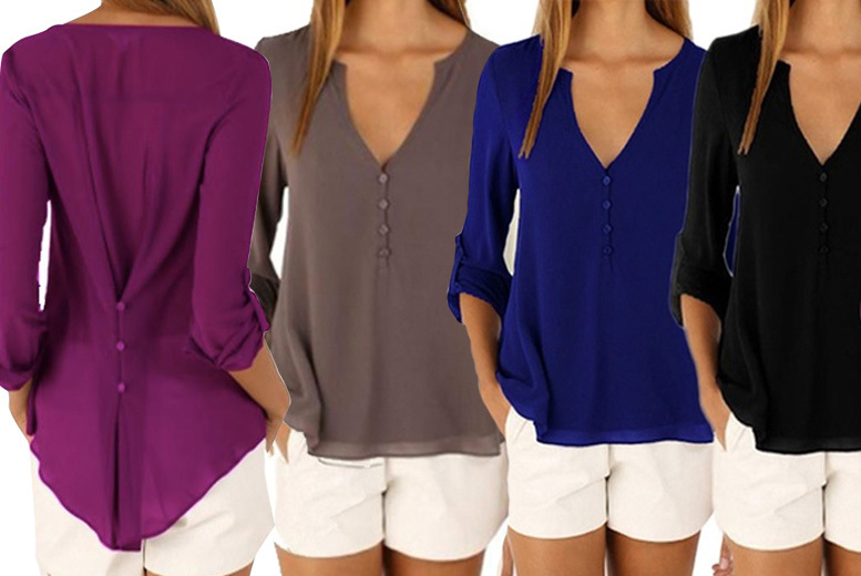 V-Neck Button Back Chiffon Blouse – 6 Colours & UK Sizes 8-18!