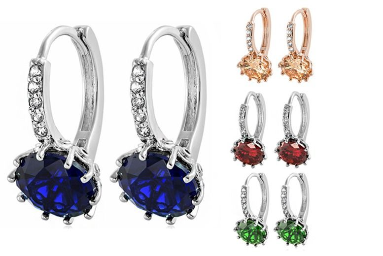 Cubic Zirconia Clasp Earrings - 4 Colours!