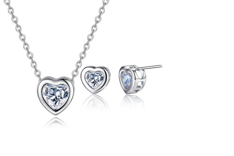 2pc Heart within a Heart Jewellery Set made with Crystals from Swarovski®