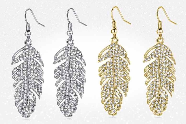 Feather Drop Earrings Made with Crystals from Swarovski® - Silver or Gold!