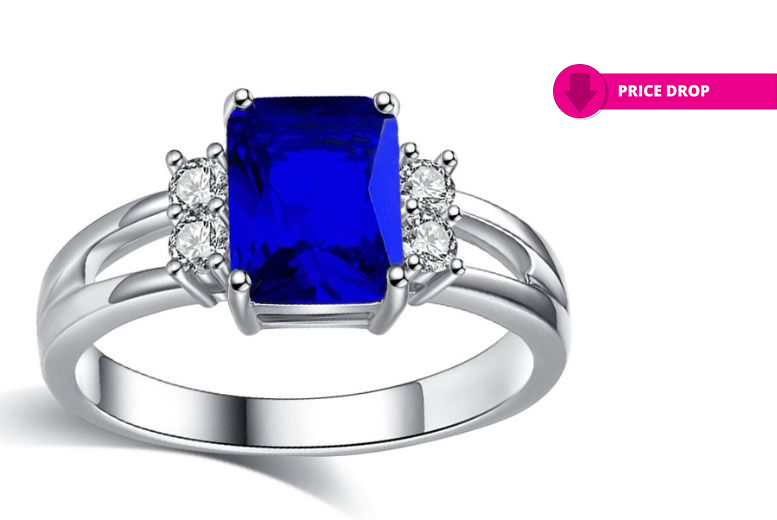 Blue Created Sapphire Ring - 4 Sizes!