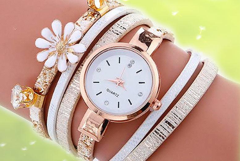 Daisy Crystal Wrap Watch - 3 Colours!