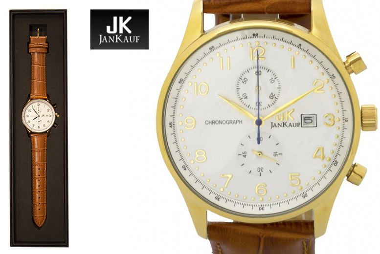 Men's Jan Kauf JK1037 Gold & Brown Leather Watch
