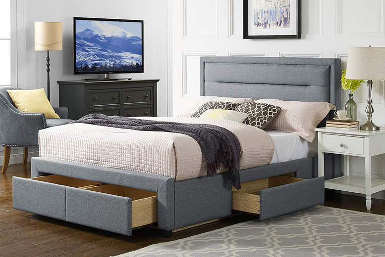 Sana Pearl Grey Fabric 4-Drawer Storage Bed w/ Optional Mattress