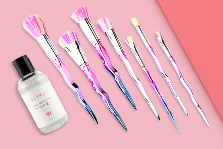 Glamza Makeup Brush Set w/ Cleaner Gel
