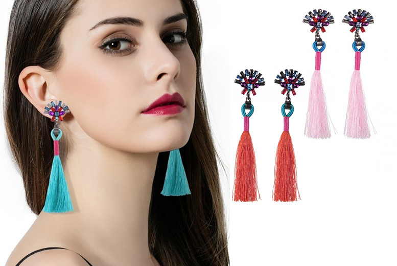Tassel Drop Crystal Earrings - 6 Colours!