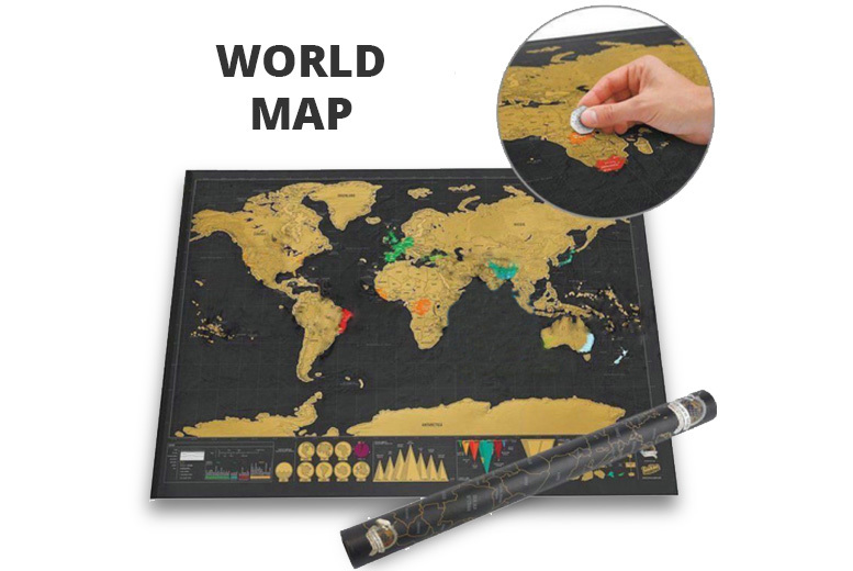 Scratch-Off World Map Poster - 2 Colours!