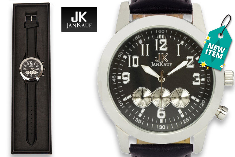 Men's Jan Kauf Luxury Black Leather JK1035 Watch