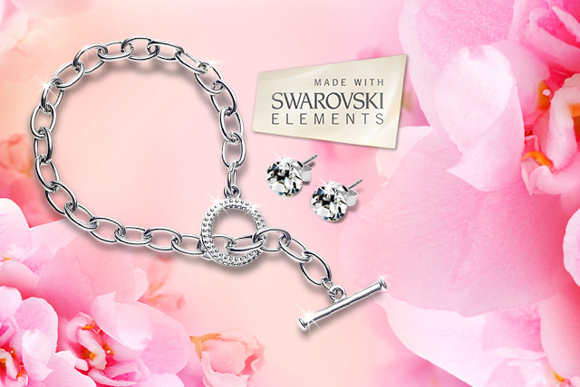£9.99 (from Diamond Style) for a Tiffany-inspired white gold bracelet, or £14 for a bracelet & Swarovski Elements stud earrings set - save up to 87%