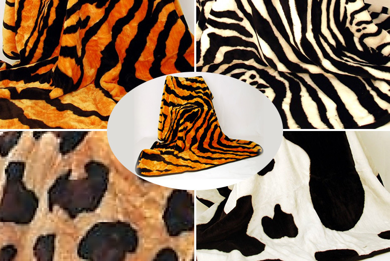 Faux-Fur Animal Print Throw – 2 Sizes & 4 Designs!