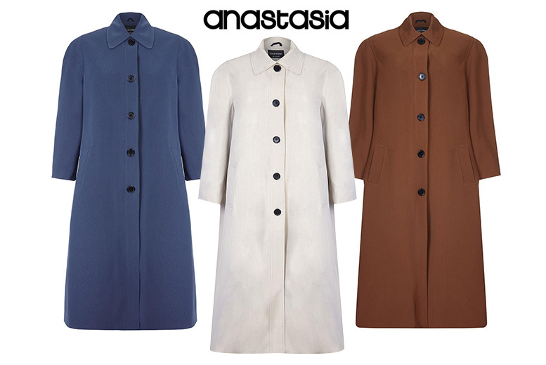 Buttoned Long Raincoat - 3 Colours & UK Sizes 14-24!