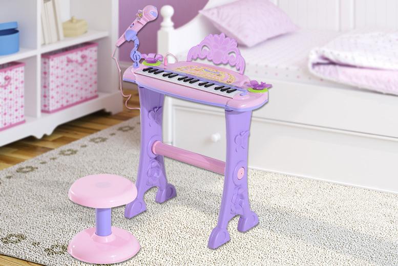 Homcom Children Mini Electronic Organ Piano and Stool