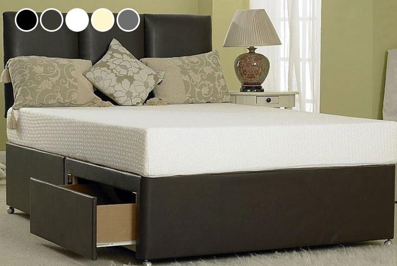 Designer Faux Leather Divan Bed - 6 Sizes & 5 Colours!