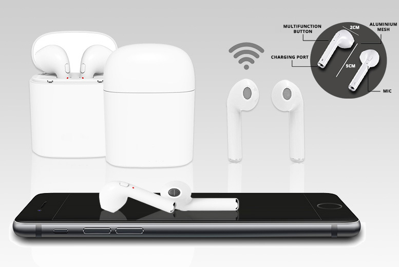 Apple-Compatible Wireless Earbuds with Charging Case – 2 Colours! for £19