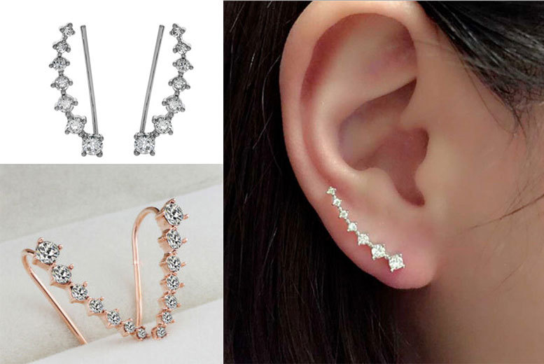 £5 instead of £22.99 (from I Luv Boutique) for a pair of crystal ear climbers, £8 for two pairs – choose from gold or silver colours and save up to 78%