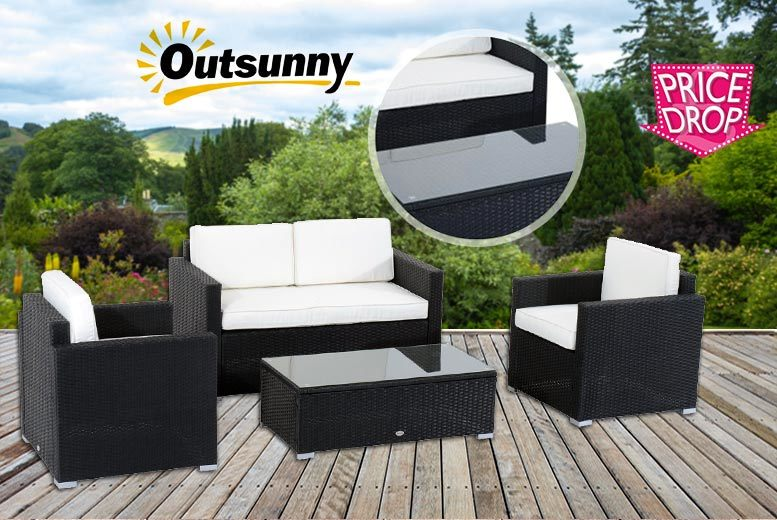 £199 instead of £870 (from Aosom) for a four-piece rattan furniture set - kick back while enjoying some fresh air and save 77%