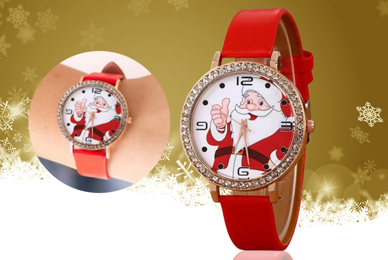 Santa Claus Faux Leather Watch