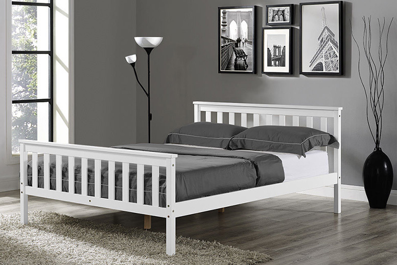 Contemporary White Wooden Bed - 2 Sizes!