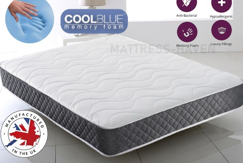 Cool Blue Grey Tex Comfortable Memory Sprung Mattress