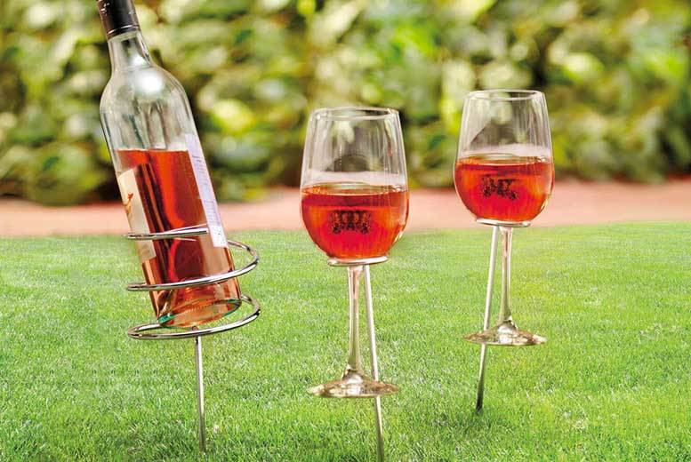 Picnic Wine Bottle and 2-Glass Holder Set for £7.99