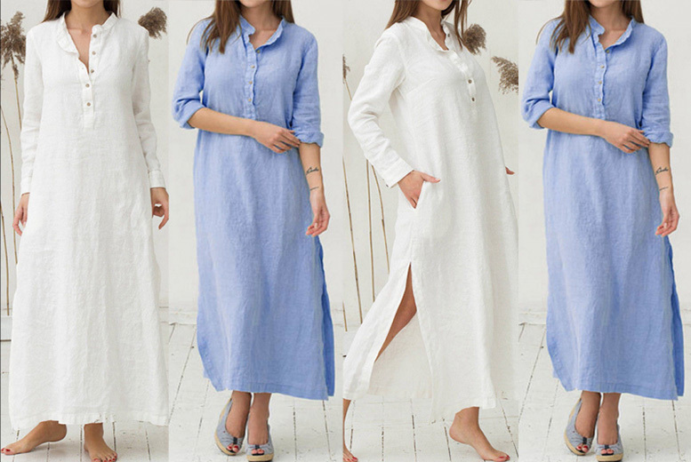 Floor Length Shirt Dress – 2 Colours & UK Sizes 12-16!