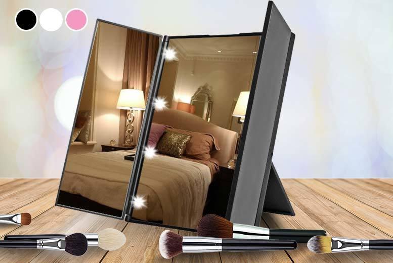 Tri-Fold LED Makeup Mirror - 3 Colours!