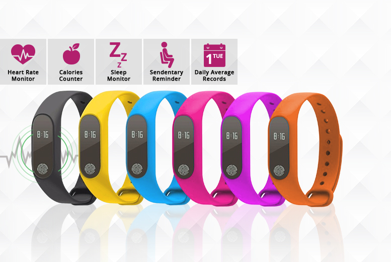 ME-2 16-in-1 Fitness Tracker with Heart Rate Monitor – 6 Colours! for £12