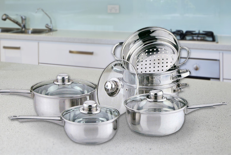 10pc Stainless Steel Cookware & Steamer Set