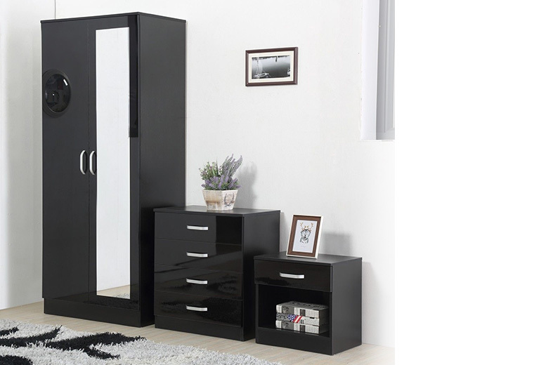 3pc High Gloss Mirrored Bedroom Furniture Set for £149