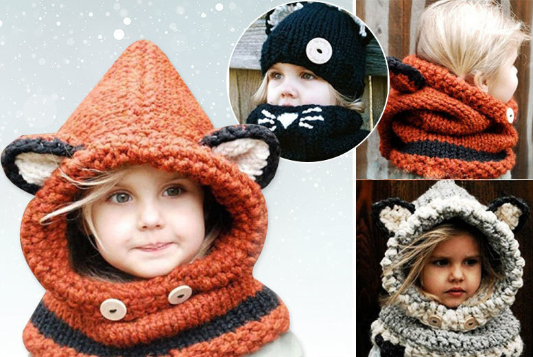 Kids' Animal Knitted Hat & Scarf Set - 3 Designs!