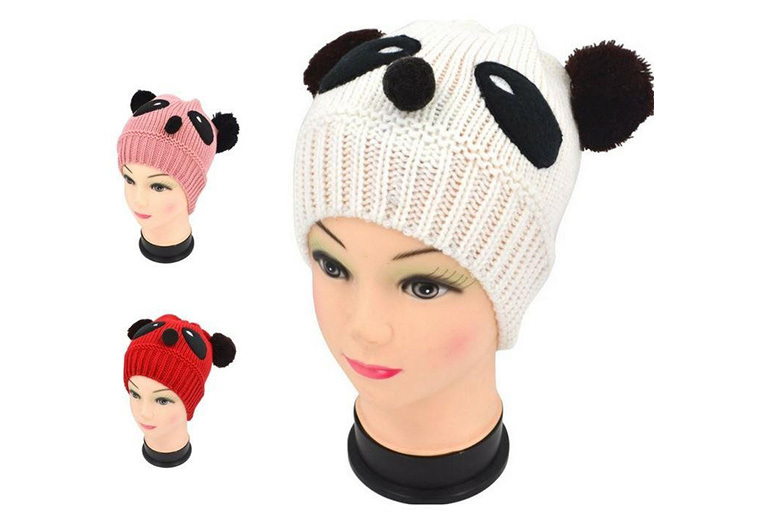 Knitted Panda Beanie – 3 Colours!