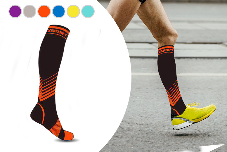 2 Pairs Fitness High Compression Socks - 4 Sizes!