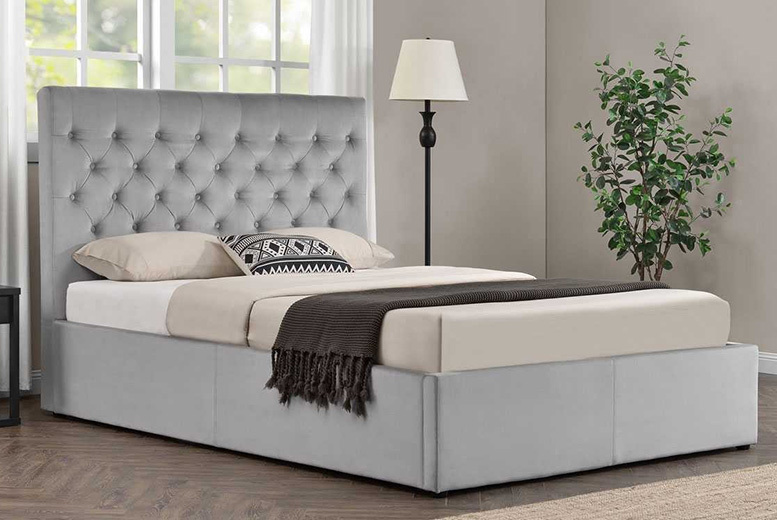 Eltham Grey Velvet Bed with Ottoman Storage Option - 2 Sizes!