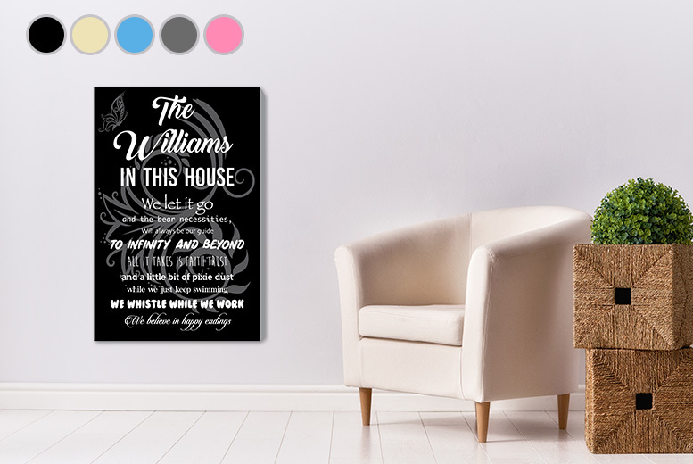 Disney-Inspired Personalised House Rules Canvas – 5 Designs! from £6.99