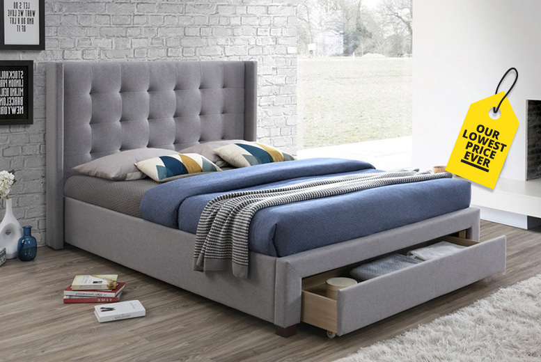 Grey Fabric Storage Bed with Optional Mattress - 2 Sizes!