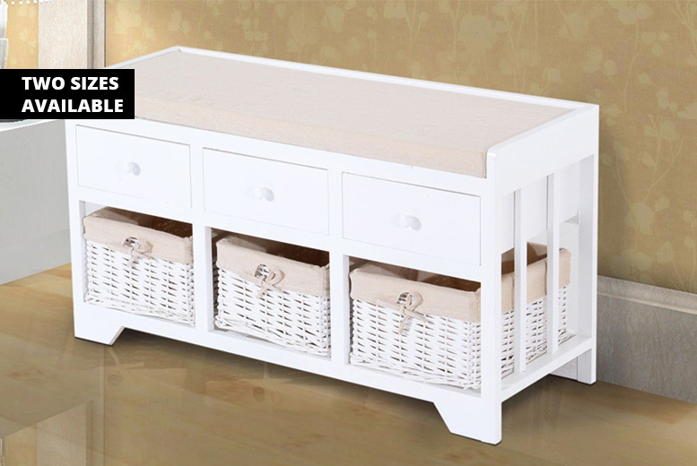 2 or 3-Drawer & Basket White Storage Bench