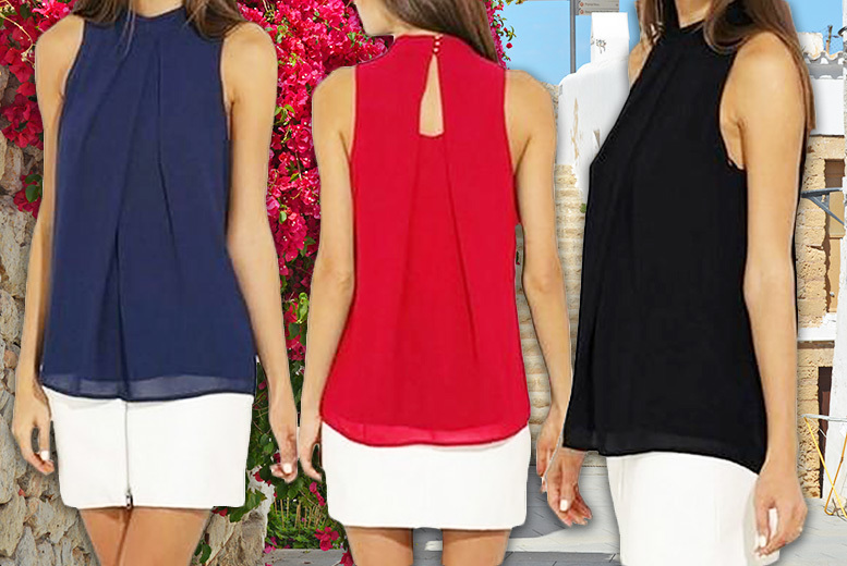 Sleeveless Chiffon Blouse - 6 Colours & UK Sizes 8-18!