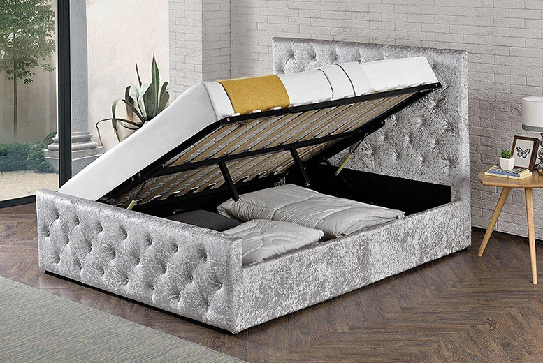 Crushed Velvet Renaissance Ottoman Bed - 2 Sizes!