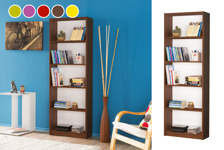 Wooden Bookcase w/ Optional Adjustable Shelves – 5 Colours! from £34.99