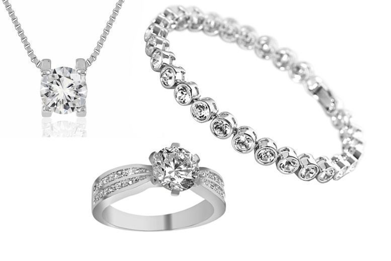 Crystal Bracelet, Ring & Necklace Set - 4 Sizes!