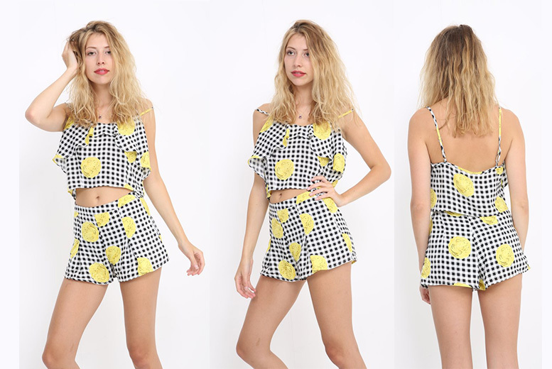 Checked Floral Co-ord Set – UK Sizes 8-14! for £5.99
