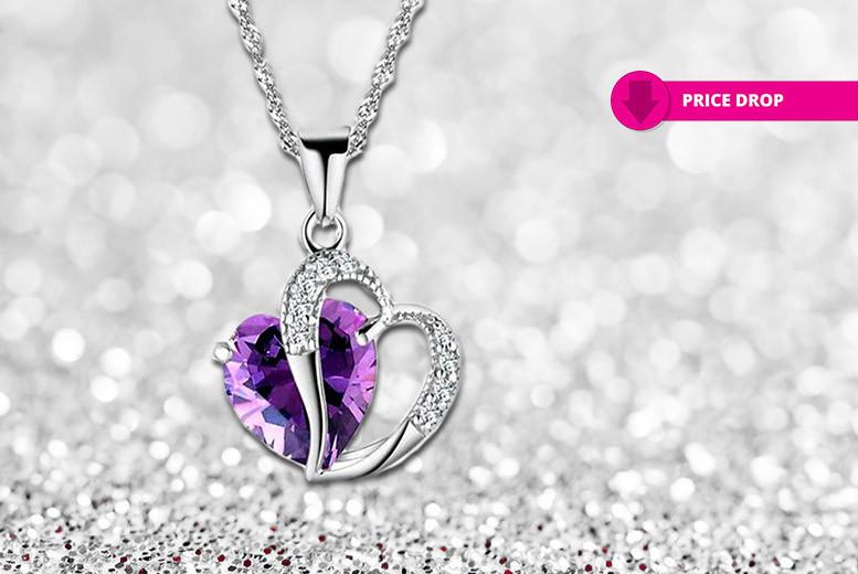 Amethyst Coloured Crystal Heart Pendant
