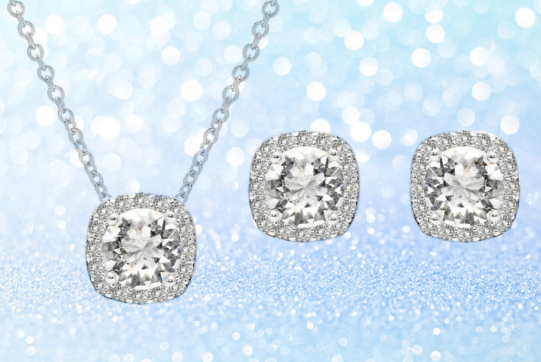 Cushion Cut Halo Necklace & Earrings Set