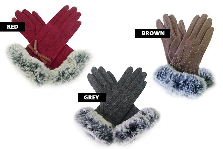 Stitch & Faux-Fur Gloves – 3 Colours!